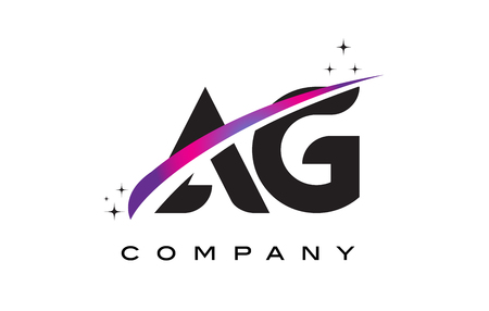 AG A G Black Letter Logo Design with Purple Magenta Swoosh and Stars.