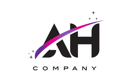 AH A H Black Letter Logo Design with Purple Magenta Swoosh and Stars.