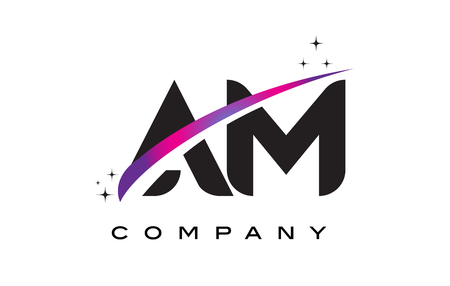 AM A M Black Letter Logo Design with Purple Magenta Swoosh and Stars. 向量圖像