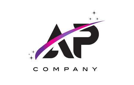 ap: AP A P Black Letter Logo Design with Purple Magenta Swoosh and Stars.