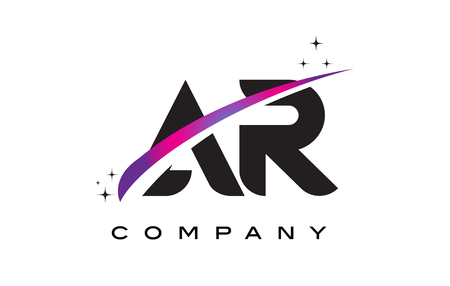 ar: AR A R Black Letter Logo Design with Purple Magenta Swoosh and Stars.