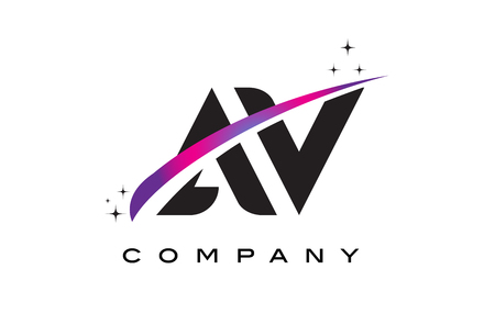 AV A V Black Letter Logo Design with Purple Magenta Swoosh and Stars.
