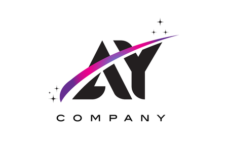AY A Y Black Letter Logo Design with Purple Magenta Swoosh and Stars. Illustration