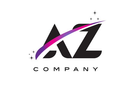 cutted: AZ A Z Black Letter Logo Design with Purple Magenta Swoosh and Stars. Illustration
