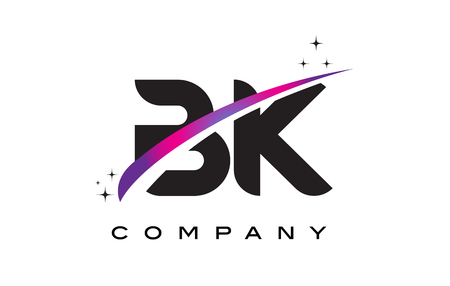 BK B K Black Letter Logo Design with Purple Magenta Swoosh and Stars.