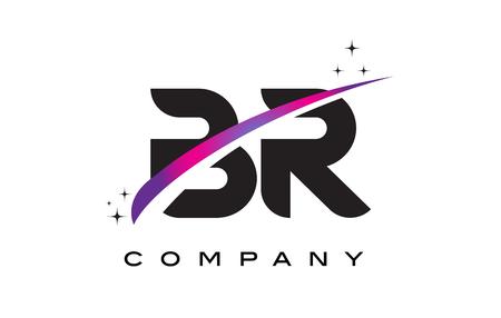 BR B R Black Letter Logo Design with Purple Magenta Swoosh and Stars.