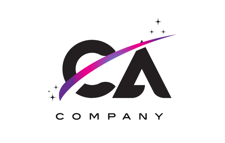 CA C A Black Letter Logo Design with Purple Magenta Swoosh and Stars.