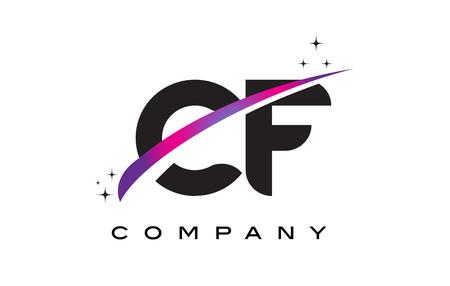 CF C F Black Letter Logo Design with Purple Magenta Swoosh and Stars.