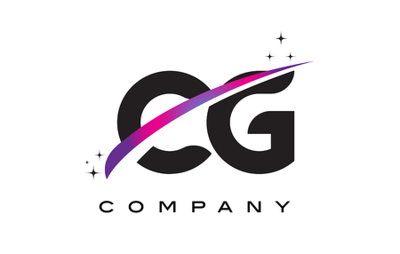 cutted: CG C G Black Letter Logo Design with Purple Magenta Swoosh and Stars.
