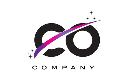 CO C O Black Letter Logo Design with Purple Magenta Swoosh and Stars.