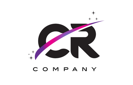 cr: CR C R Black Letter Logo Design with Purple Magenta Swoosh and Stars.