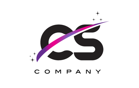 cs: CS C S Black Letter Logo Design with Purple Magenta Swoosh and Stars. Illustration