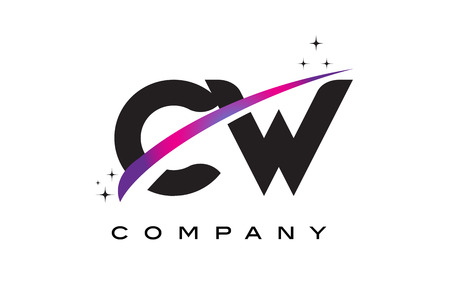CW C W Black Letter Logo Design with Purple Magenta Swoosh and Stars.