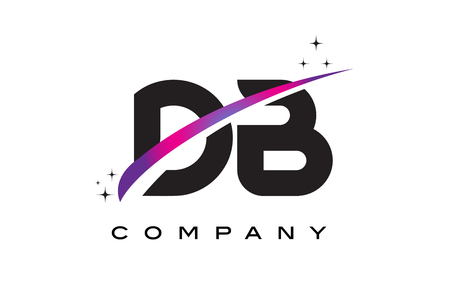 DB D B Black Letter Logo Design with Purple Magenta Swoosh and Stars. Illustration