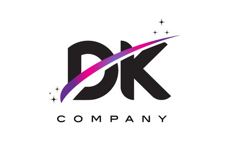 cutted: DK D K Black Letter Logo Design with Purple Magenta Swoosh and Stars.