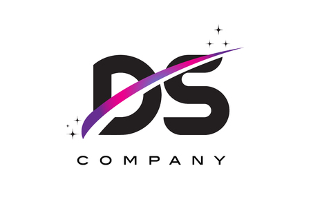 DS D S Black Letter Logo Design with Purple Magenta Swoosh and Stars. 向量圖像