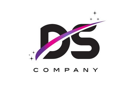 DS D S Black Letter Logo Design with Purple Magenta Swoosh and Stars. Ilustração