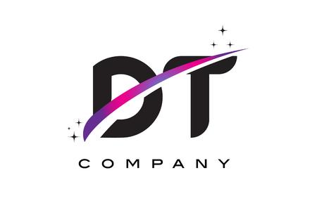 DT D T Black Letter Logo Design with Purple Magenta Swoosh and Stars.