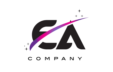 cutted: EA E A Black Letter Logo Design with Purple Magenta Swoosh and Stars. Illustration