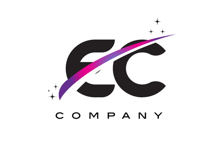 cutted: EC E C Black Letter Logo Design with Purple Magenta Swoosh and Stars. Illustration