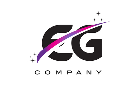 eg: EG E G Black Letter Logo Design with Purple Magenta Swoosh and Stars.