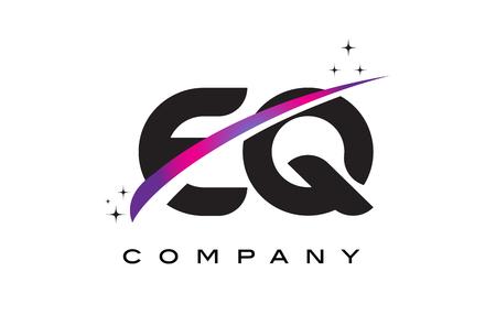 EQ E Q Black Letter Logo Design with Purple Magenta Swoosh and Stars.