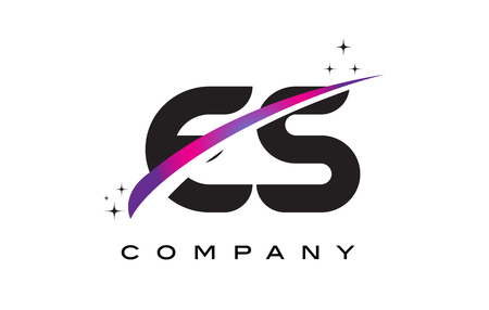 ES E S Black Letter Logo Design with Purple Magenta Swoosh and Stars.