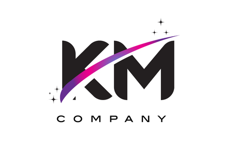 KM K M Black Letter Logo Design with Purple Magenta Swoosh and Stars.