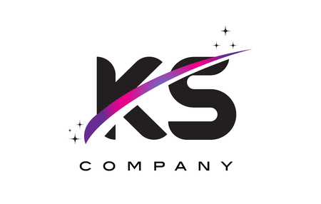 KS K S Black Letter Logo Design with Purple Magenta Swoosh and Stars.