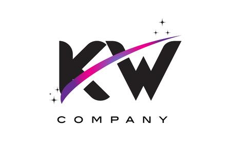 kw: KW K W Black Letter Logo Design with Purple Magenta Swoosh and Stars.