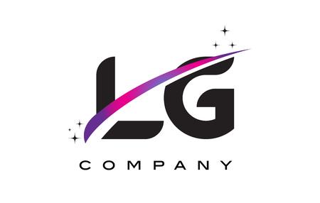 LG L G Black Letter Logo Design with Purple Magenta Swoosh and Stars. Logó