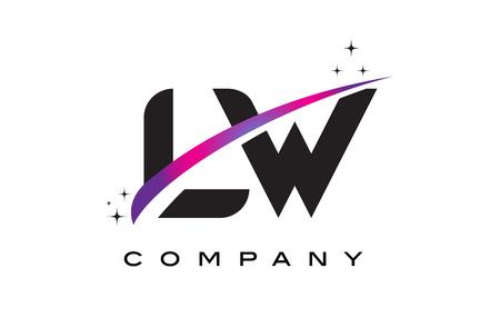 LW L W Black Letter Logo Design with Purple Magenta Swoosh and Stars.
