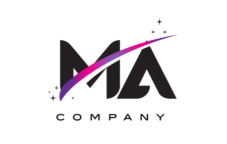MA M A Black Letter Logo Design with Purple Magenta Swoosh and Stars.
