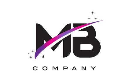 mb: MB M B Black Letter Logo Design with Purple Magenta Swoosh and Stars.