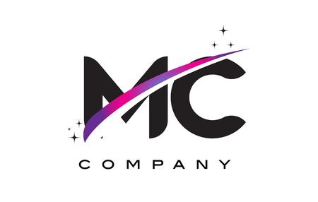 MC M C Black Letter Logo Design with Purple Magenta Swoosh and Stars.