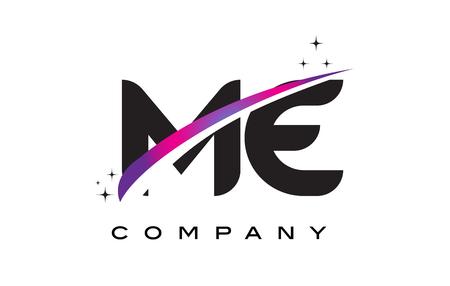 ME M E Black Letter Logo Design with Purple Magenta Swoosh and Stars. Illustration