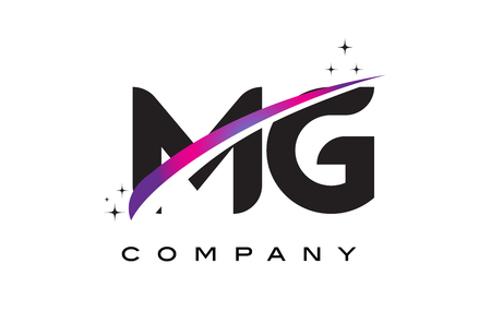 MG M G Black Letter Logo Design with Purple Magenta Swoosh and Stars.