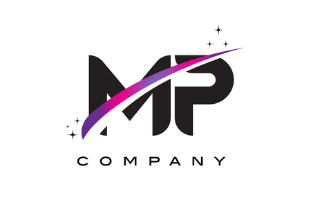 mp: MP M P Black Letter Logo Design with Purple Magenta Swoosh and Stars.