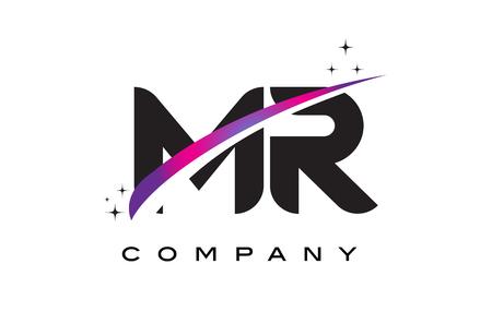 MR M R Black Letter Logo Design with Purple Magenta Swoosh and Stars.