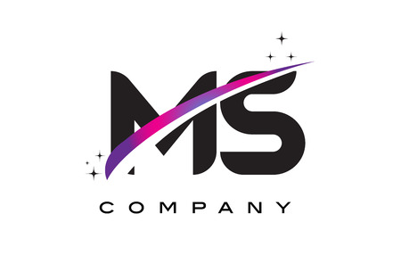 MS M S Black Letter Logo Design with Purple Magenta Swoosh and Stars.
