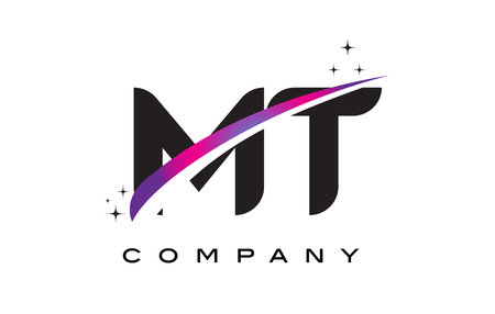 MT M T Black Letter Logo Design with Purple Magenta Swoosh and Stars.