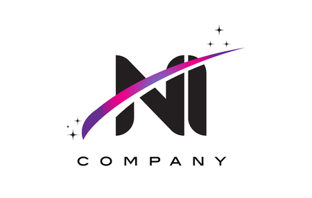 NI N I Black Letter Logo Design with Purple Magenta Swoosh and Stars.