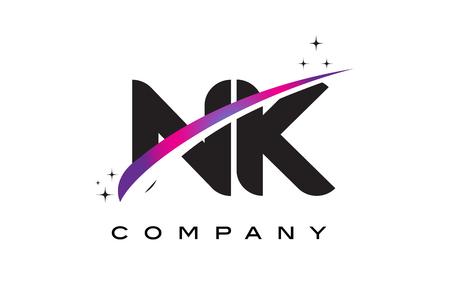 NK N K Black Letter Logo Design with Purple Magenta Swoosh and Stars.