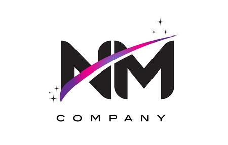 NM N M Black Letter Logo Design with Purple Magenta Swoosh and Stars. Illustration
