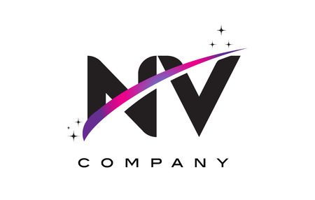 nv: NV N V Black Letter Logo Design with Purple Magenta Swoosh and Stars.