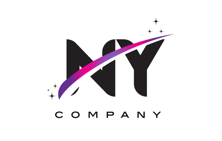 ny: NY N Y Black Letter Logo Design with Purple Magenta Swoosh and Stars.