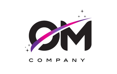 OM O M Black Letter Logo Design with Purple Magenta Swoosh and Stars. Illustration