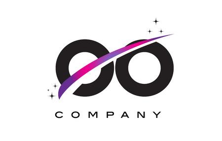 OO O Black Letter Logo Design with Purple Magenta Swoosh and Stars. Ilustração