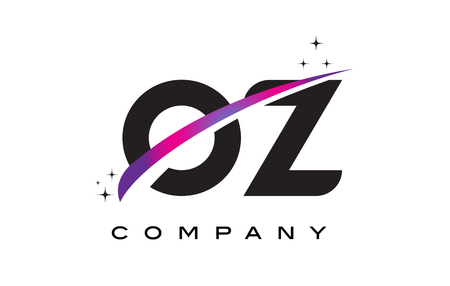 OZ O Z Black Letter Logo Design with Purple Magenta Swoosh and Stars.