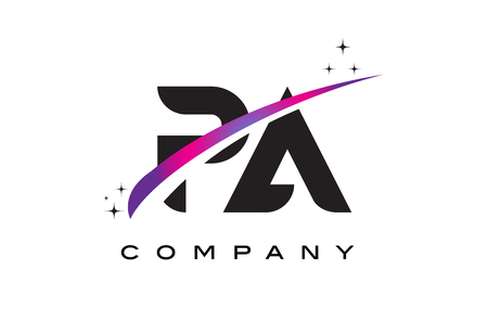 PA P A Black Letter Logo Design with Purple Magenta Swoosh and Stars.
